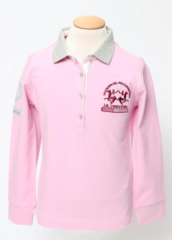 "d8f8af67ea6d0 La Martina Girls Pink Polo ""Aspen"" - High quality fashion for kids"