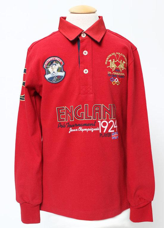 "e86cc639b4344 La Martina Boys Red ""England"" Polo - High quality fashion for kids"