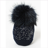 Joli Bebe Dark Navy Wool Knitted Pom-Pom Hat