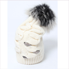 Joli Bebe Ivory Wool Knitted Hat with Black Pom-Pom