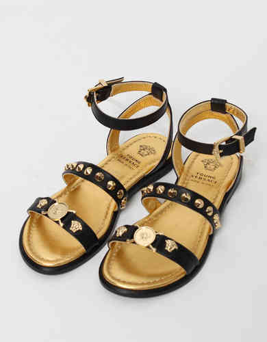 9bad8c270 Young Versace Girls Black Leather Sandals - High quality fashion for ...