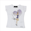 T-Shirt T-Shops Girls White Special Edition Swarovski Ice Skater Top