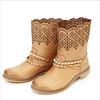 Miss Blumarine Girls Beige Leather Boots