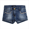 Miss Blumarine Girls Blue Denim Shorts with Gems