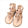 Miss Blumarine Girls Beige Patent Leather Sandals With Jewels