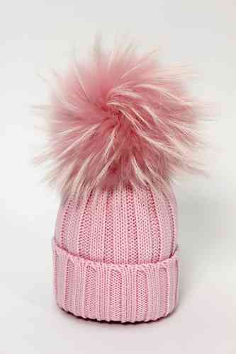 5b926c01fe6 Catya Pink Wool Ribbed Fur Pom-Pom Hat - High quality fashion for kids