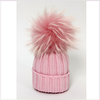 Catya Pink Wool Ribbed Fur Pom-Pom Hat