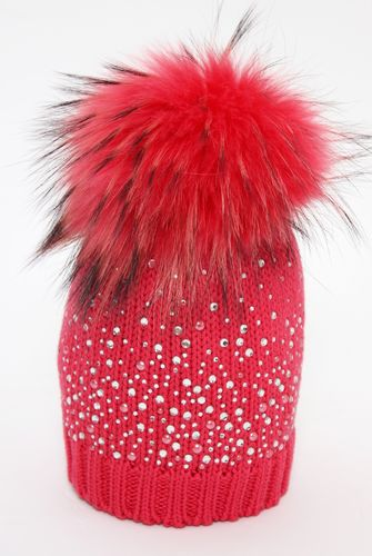ab6117244ed Catya Wool Knitted Pom-Pom Hat with Diamantes Applikation - High quality  fashion for kids