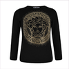 Young Versace Girls Black Studded Medusa Top