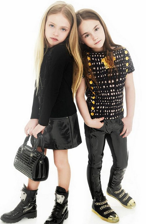 Young Versace Girls Black Shiny Leather Trousers