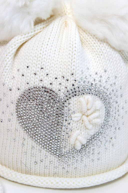 Catya Baby Ivory Hat with Fur Pom Poms   Diamante Heart - High ... 9bd696f02cc