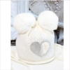 Catya Baby Ivory Hat with Fur Pom Poms & Diamante Heart