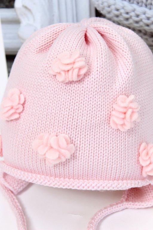 catya baby strickm tze rosa mit 3d blumen exklusive designermode und markenschuhe f r kinder. Black Bedroom Furniture Sets. Home Design Ideas