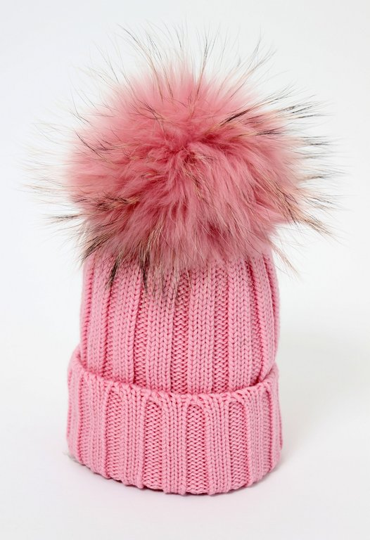ee50937407f498 Catya Girls Pale Pink Knitted Hat with Real Fur Pom Pom - High quality  fashion for kids