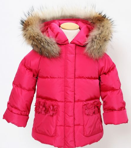 5fbfb4623 Il Gufo Girls Orchid Pink Down Padded Jacket with Fur Trim - High ...