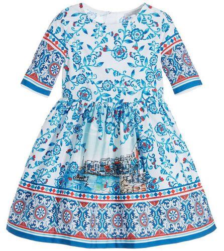 a25b61e77 Patachou Girls Blue & White Cotton Dress - High quality fashion for kids