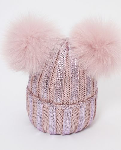 9426cace5 Catya Pink Wool Knitted Hat with Fur Pom-Poms