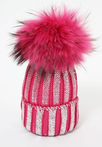 c3b84bd74ce450 Catya Pink Knitted Hat with Fur Pom-Pom - High quality fashion for kids